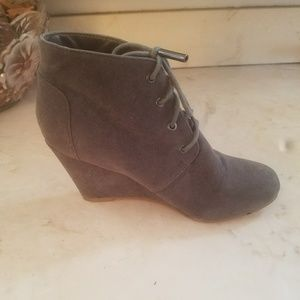 Grayish ankle booties